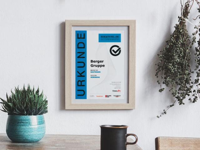 Auszeichnung / Urkunde vom Expertenportal beratung.de für die Berger Gruppe Nürnberg